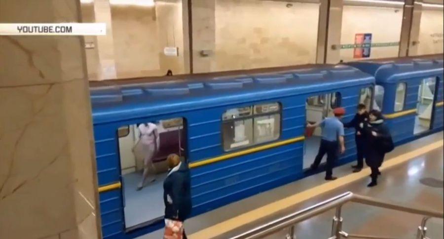 «Как голый вметро»: вкиевском метро голый мужчина пытался угнать поезд