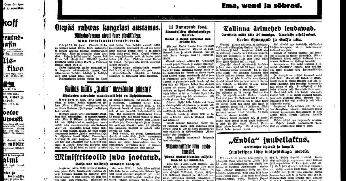 Postimees 1928. aastal: Tallinna ärimehed lendavad