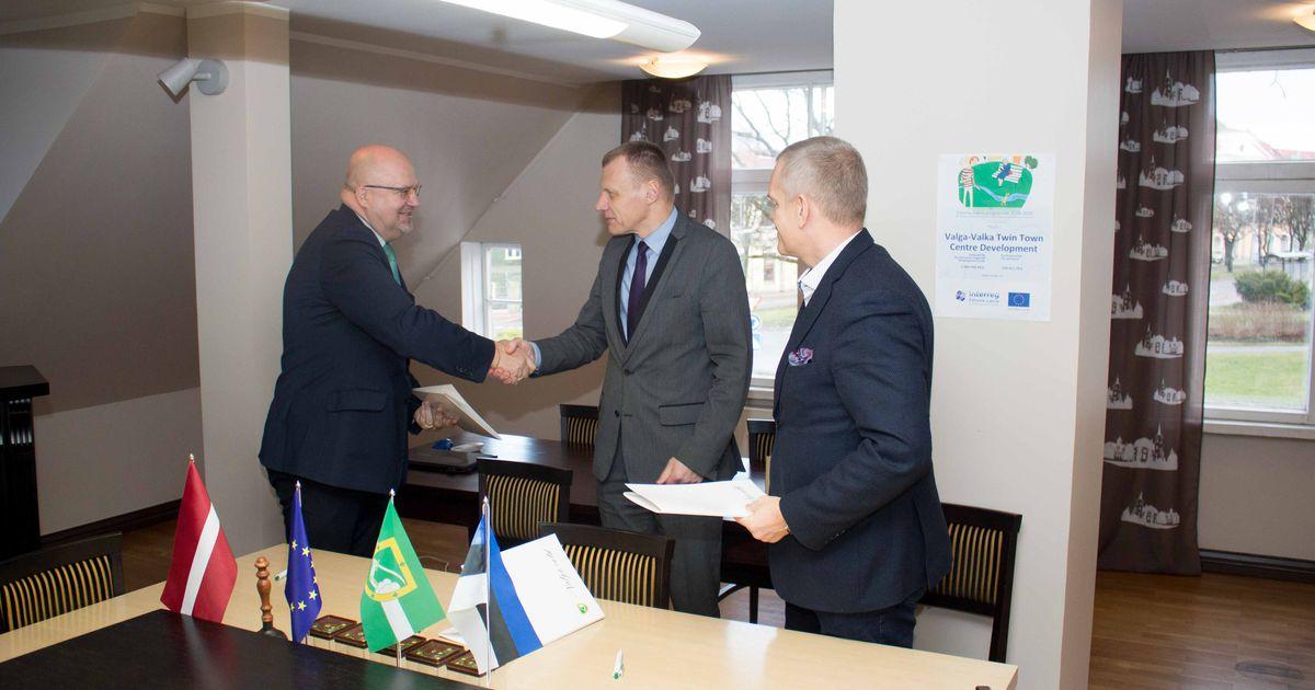 Fotod: Valga-Valka ühise linnasüdame ehitusleping sai allkirjad