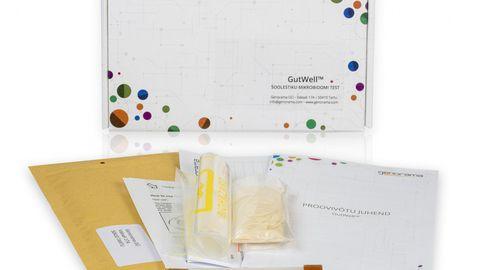 Soolestiku mikrobioomi testikomplekt koos kõige testi tegemiseks vajalikuga.