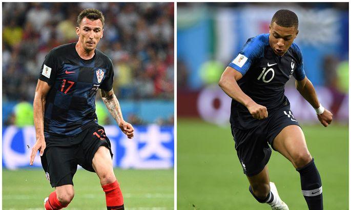 5fa6a4b481b Prantsusmaa ootab finaalis väravaid Kylian Mbappelt (paremal), Horvaatia  loodab Mario Mandžukicile.